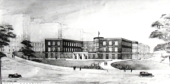 An artist's impression of the Graves Radium Institute, Sheffield, c.1945  T.W. Barnard, Memoir on the Origin and Progress of the Trust, (pp Sheffield 1964)