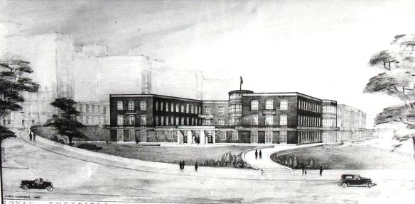 An artist's impression of the Graves Radium Institute, Sheffield, c.1945  T.W. Barnard, Memoir on the Origin and Progress of the Trust, (pp Sheffield 1964)